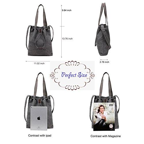 Beach Wearable Bag Bag for Turelifes Cotton women Canvas Grey Cloth Handbags Shoulder pwWqz7