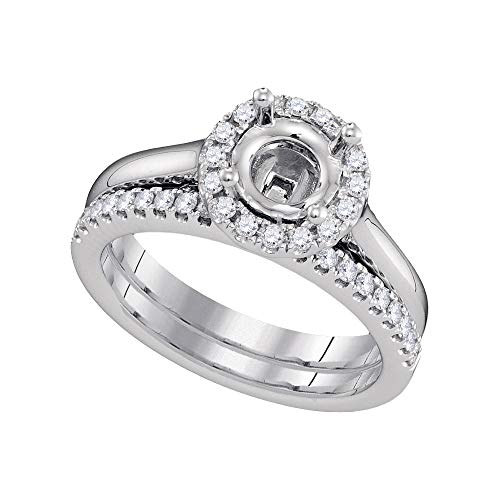 (Mia Diamonds 18kt White Gold Womens Round Diamond Semi-Mount Wedding Bridal Ring Set (.37cttw) (SI3)- Size -7)