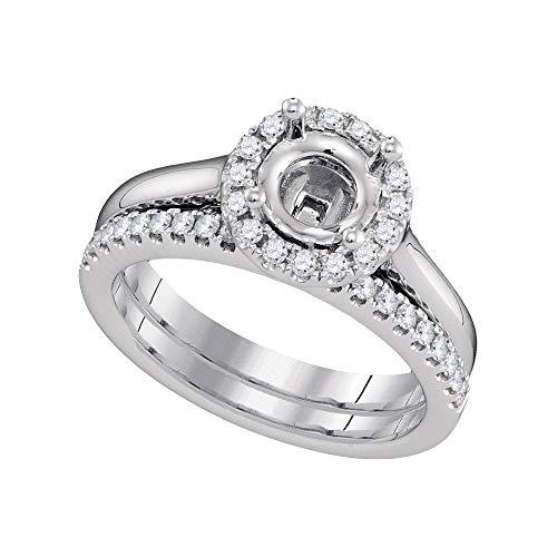 - Mia Diamonds 18kt White Gold Womens Round Diamond Semi-Mount Wedding Bridal Ring Set (.37cttw) (SI3)- Size -7