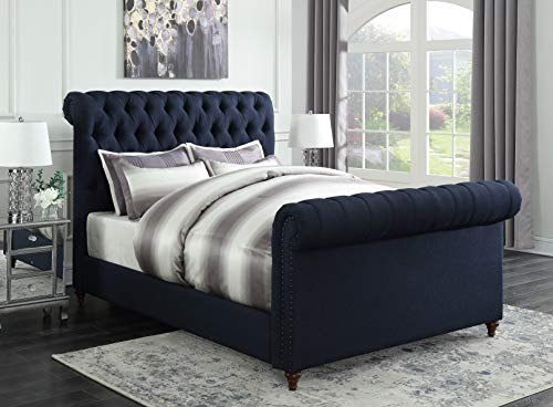 Coaster Home Furnishings 300653F Upholstered Bed, Navy Blue