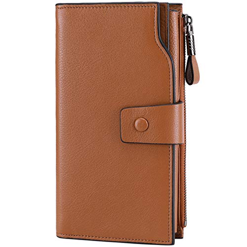 Itslife Women's RFID Blocking Large Capacity Luxury Wax Genuine Leather Clutch Wallet Card Holder Organizer Ladies Purse (2-Natural Light Brown RFID BLOCKING)