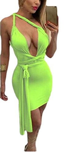 2 Neck Sexy Dress Bandage Mini Deep Spaghetti Bodycon V Jaycargogo Women Strap CPxwq0TB4