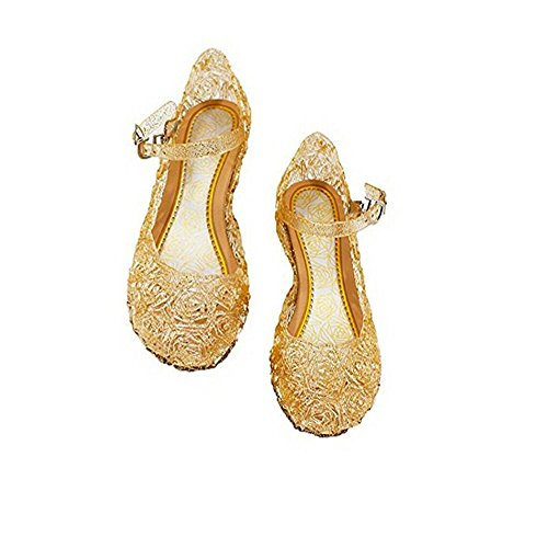 Qinyue.JF Girls' Cute Sparkle Sandals Fancy Dress Up Jelly Party Dancing Cosplay Shoes ,Baby Girls Soft Crystal Plastic Shoes Children's Princess Shoes (7.5M US Toddler, Gold)
