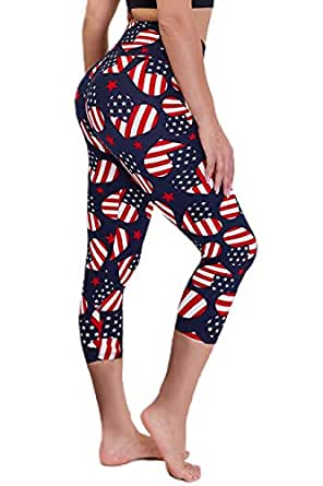 CAMPSNAIL Plus Size High Waisted Leggings for Women Yoga Pants Seamless Capri Leggings Compression Workout Printed Leggings (1 Pair, American Heart, US 14-24 Plus Size)
