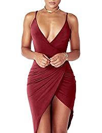 Womens Sexy V Neck Spaghetti Strap Bodycon Wrap Dress Front Slit Bandage Midi Club Dresses