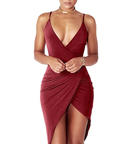 Sexy Slit (YS.DAMAI Women's Sexy Deep V Neck Sleeveless Spaghetti Strap Bodycon Wrap Dress Front Slit Bandage Midi Club Dress(Winered,XL))