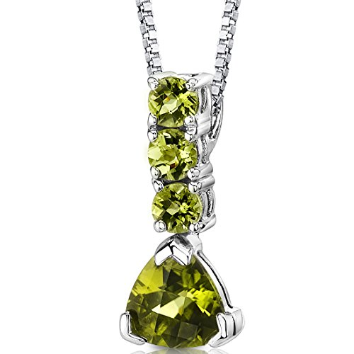 Peridot Trillion Drop Pendant Necklace Sterling Silver Rhodium Nickel Finish 2.75 (Gemstone Trillion Necklace)