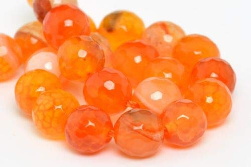 Pots Agate - 8mm Natural Orange Cracked Agate Beads Grade A Faceted Round Loose Beads 7.5'' Crafting Key Chain Bracelet Necklace Jewelry Accessories Pendants