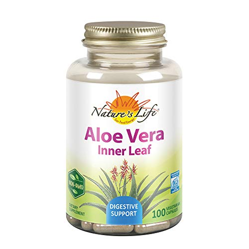 Natures Life 50 Caps - Nature's Life Aloe Vera Inner Leaf ,Skin Health, Digestive Support & Regularity Formula, With Fennel, Non-GMO & Vegan,  No Fillers 100 Veg Caps