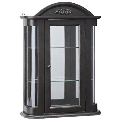 Ebony Finish Traditional Accents - Design Toscano BN15222 Rosedale Wall Curio Cabinet, Ebony Black