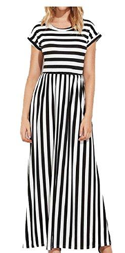 Sleeve Pockets Long Womens Dress Maxi Short Black Striped Jaycargogo qTBpnAwPB