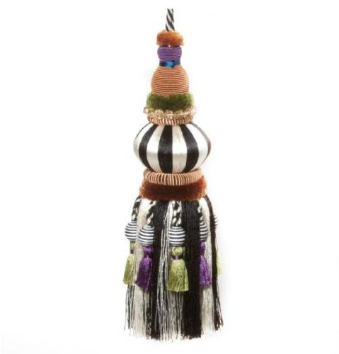 MacKenzie-Childs Bibelot Tassel - Black & White 9'' H x 5'' loop