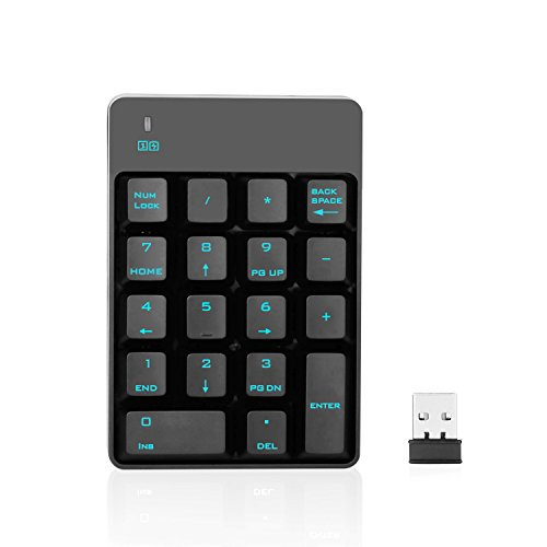 Cordless Number (Jelly Comb 2.4G Number Pad, 18 Keys Wireless Silent Numeric Keypad with Mini USB Receiver, for Laptop/Notebook, Compatible with Windows System)