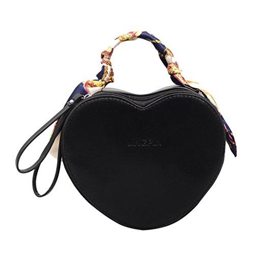 borsa con tracolla di a da tracolla da forma di Kofun cuore tracolla Nero donna a donna Borsa forma a a vzCAxw6gq