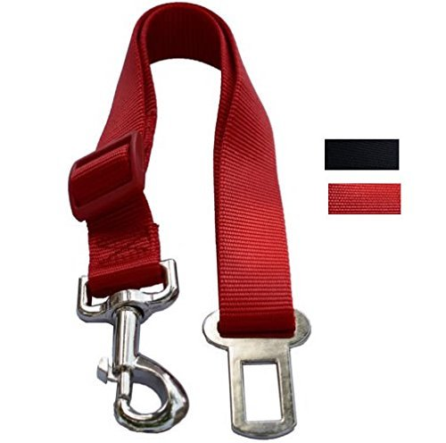 Lanyarco Red Pet Dog Adjustable Car Automotive Seat Safety Belt Vehicle Seatbelt leash lead Travel For Small/Medium / Large Dogs,Cats