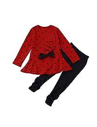 Changeshopping Baby Sets Heart-shaped Print Bow Cute 2PCS Kids Set T shirt + Pants
