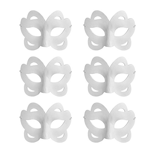 Diy Easy Halloween Costumes (Aspire Bulk Pack of 6 DIY Masks Craft Paper Halloween Masquerade Face Mask Decorating Party Costume - Butterfly2,1 pack)