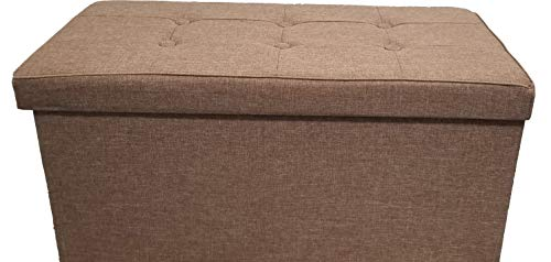 Mk Home Folding Camel Faux Linen Ottoman Pouffe, Foot Rest, Coffee Table, 2 Seat Bench with Padded Seat and Storage Compartment New ()