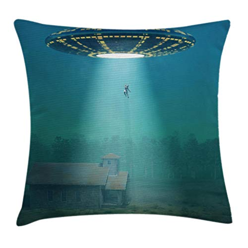 """Ambesonne Outer Space Throw Pillow Cushion Cover, Surreal Image of Visitor UFO Abduction of Humans in a Field at Foggy Misty Night, Decorative Square Accent Pillow Case, 16"""" X 16"""", Blue"""