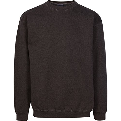 Have It Tall Men's Pigment Dyed Heavyweight Crew Neck Sweatshirt Dark Heather Large Tall