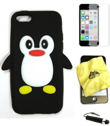 Bukit Cell Bundle - 4 Items: Bukit Cell BLACK Penguin Soft Silicone Case for Iphone SE 5S 5G, Bukit Cell Cleaning Cloth, Screen Protector and Metallic Stylus Touch Pen with Anti Dust Plug