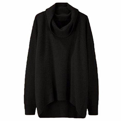 QIYUN.Z Señoras Mujer Otoño Invierno Cuello Alto Irregular Dobladillo Jersey Casual Negro