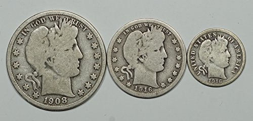 1892 -1916 Barber Half Dollar, Quarter, & Dime, Set of 3 Coins Circulated