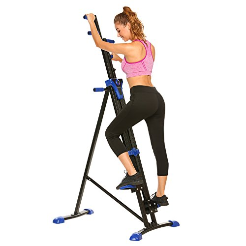 ANCHEER Vertical Climber Folding Exercise Climbing Machine, Exercise Equipment Climber for Home Gym, Stair Stepper Exercise for Home Body Trainer (Blue)