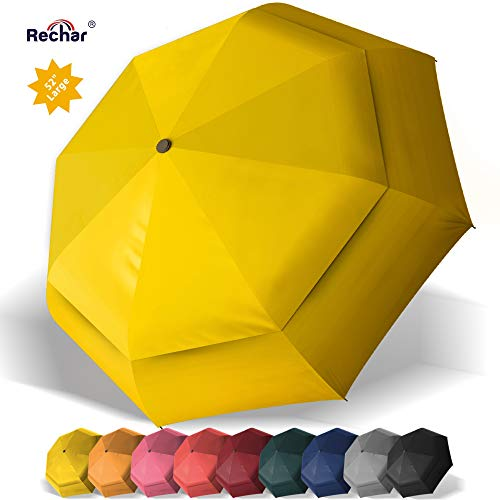 RECHAR Windproof Large Travel Umbrella 一 52 inch Automatic Unbreakable Umbrella, Men&Women Totes Umbrella, 1-Year Quality Warranty No Refund ... (Orange-2) (For Best Umbrellas Wind)