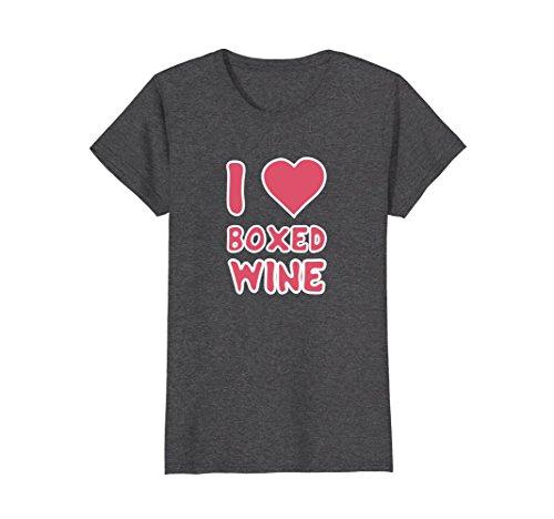 Womens I Love Boxed Wine - Funny T-Shirt for Wine Lovers Medium Dark (Boxed Wine T-shirt)