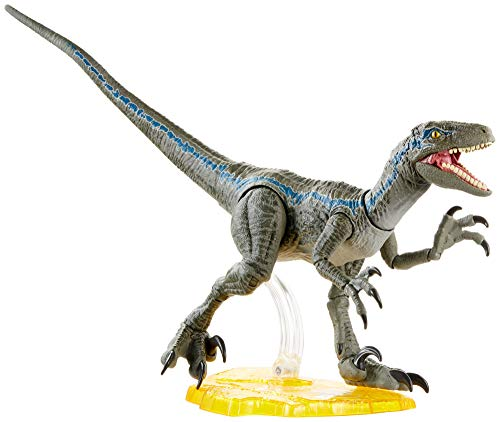 Jurassic World Velociraptor Blue 6-inches Collectible Action Figure with Movie-Authentic Detail, Movable Joints and Figure Display Stand; for Ages 4 and Up