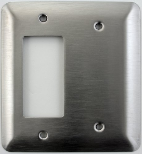 Blank Gfi - Mulberry Princess Style Satin Stainless Steel Two Gang Switch Plate - One GFI/Rocker Opening One Blank