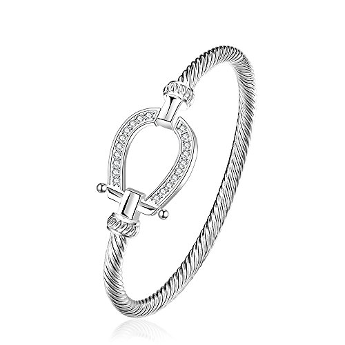 lureme Lucky Horseshoe Bangle Crystal and Silver Western Jewelry Good Luck Charm for Horse Lover Girl Woman Teen 06002865