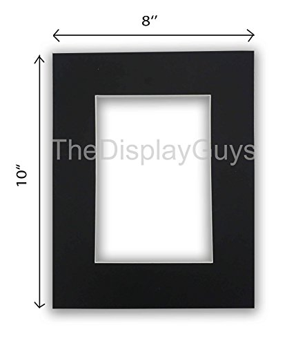The Display Guys, Pack of 10pcs inch Acid-Free Black Pre-Cut Picture Mats White Core Bevel Cut Frame Mattes for Photo (8x10 Inch Black Mats)]()