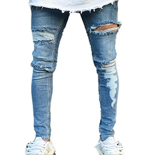 Con Jeans Di Distrutto Pantaloni Strappati Azzurro Disegno Skinny Da Uomo Huateng wn65Cq50