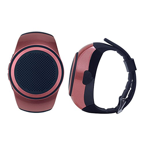 SUERSUN Speaker Watch, Wearable Speaker Mini Multifunctional Bluetooth Sports Speaker, TF Card MP3 Music Player, FM Radio, Handsfree, Selfie, Red