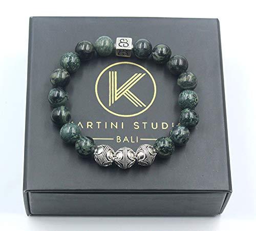 (Dark Green Jade and Sterling Silver Bracelet, Men's Jade Bracelet, Men's Silver Bracelet)