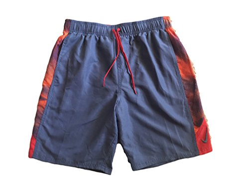 NIKE Mens Volley Swim Boardshorts (Grey/Red Side Panel, Medium) (Nike Elastic Waist Shorts)