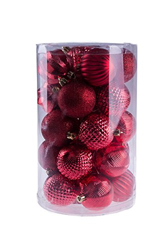 - Red Decorative Christmas Shatterproof Orbs and Ornaments - Assorted 25 Pack Up to 60mm