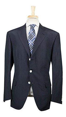 brioni Chigi Oxford Blue Striped Linen Blend 3/2 Button Suit 56/46 R (Brioni Linen Suit)
