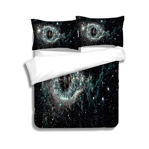 (Family bed The Helix nebula a cosmic starlet eerie resemblance to a giant eye on a background of a colorful 3 Piece Bedding Set with Pillow Shams, Queen/Full, Dark Orange White Teal Coral)