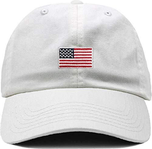H-214-AF09 Dad Hat Unconstructed Baseball Cap: American Flag, White ()