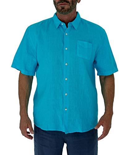 Short Fin Short Sleeve Button Down Linen Shirt (Size 2X Large, Neon Blue L8040L) ()