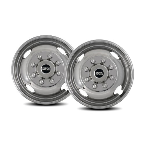 Pacific Dualies 43-2608 17'' Polished Stainless Steel Wheel Simulator Front Tag Axle Kit for 2005-2014 Ford F350 Truck RV Motorhome by Pacific Dualies