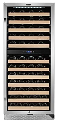 Whynter BWR-0922DZ 92 Bottle Built-in Dual Zone Compressor Wine Refrigerator with Display Rack, Stainless-Steel