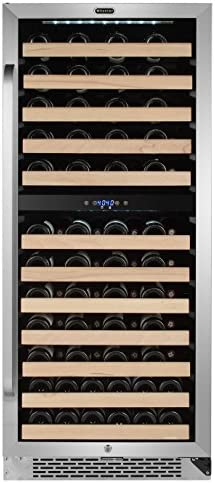Whynter BWR-0922DZ 92 Bottle Built-in Dual Zone Compressor Wine Refrigerator with Display Rack, Stainless-Steel, One Size, black