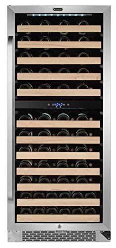 Whynter BWR-0922DZ 92 Bottle Built-in or Freestanding Stainless Steel Dual Zone Compressor Wine refrigerator, Large, Black