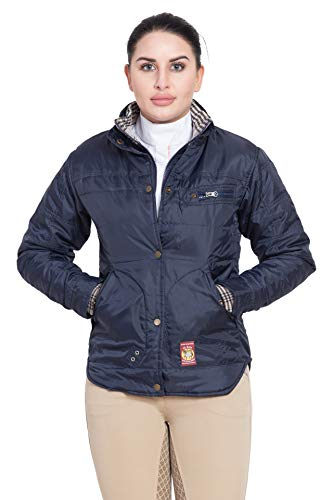 (BAKER 100% POLYESTER LADIES CLASSIC JACKET (Navy, Large))