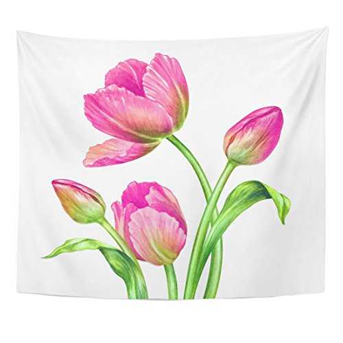 VaryHome Tapestry Pink Easter Watercolor Botanical Fresh Spring Tulips Floral Beautiful Bouquet of Wild Flowers Green White Home Decor Wall Hanging for Living Room Bedroom Dorm 50x60 (Tulip Floral Tapestry)
