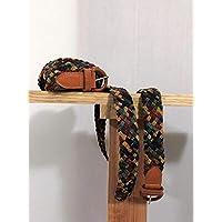 Cinturon de piel tejido mujer, multicolor, artesanal, bordado, boho, de tela